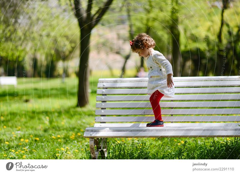 little girl playing in the park on a bench Joy Happy Beautiful Leisure and hobbies Summer Garden Child Human being Baby Girl Woman Adults Infancy 1 1 - 3 years