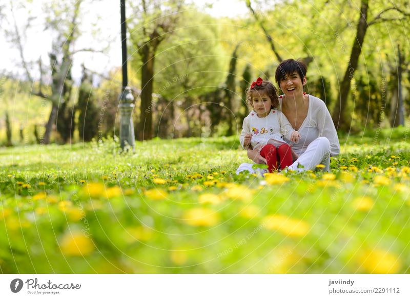 mother and little girl playing in the park Lifestyle Joy Happy Child Human being Feminine Baby Girl Woman Adults Mother Family & Relations Couple Infancy 2