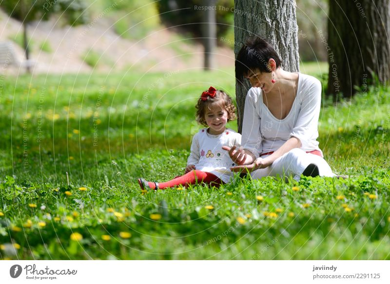 mother and little girl playing in the park Lifestyle Joy Summer Child Human being Feminine Baby Girl Woman Adults Mother Family & Relations Couple Infancy 2