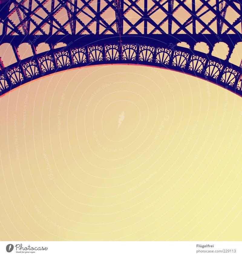 |( Eiffel Tower Elegant Tourist Attraction Vintage Ornament Steel Arch Romance Art nouveau Sky Cloudless sky France Paris Twilight Steel construction Ornate