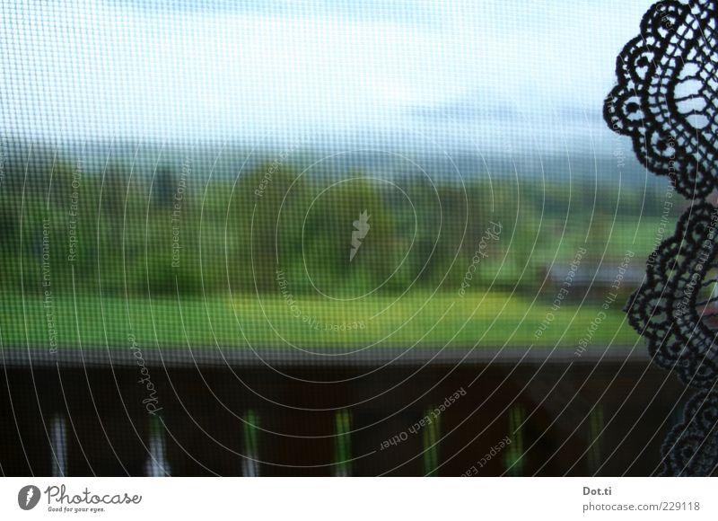 Nature Green Clouds Window Landscape Field Decoration Net Idyll Alps Balcony Handrail Bavaria Lace Curtain Border