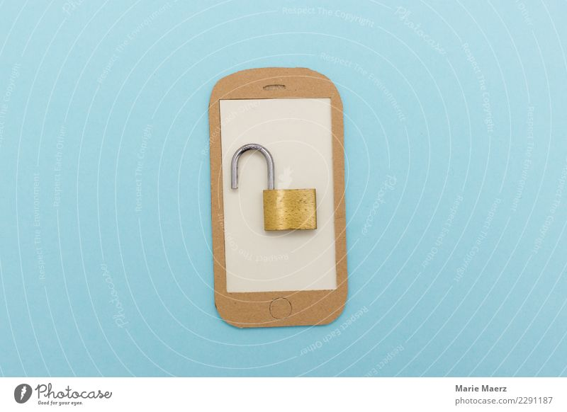 Cell phone security breach. Open padlock on display. Cellphone PDA Telecommunications Information Technology Looking To call someone (telephone) Modern Blue
