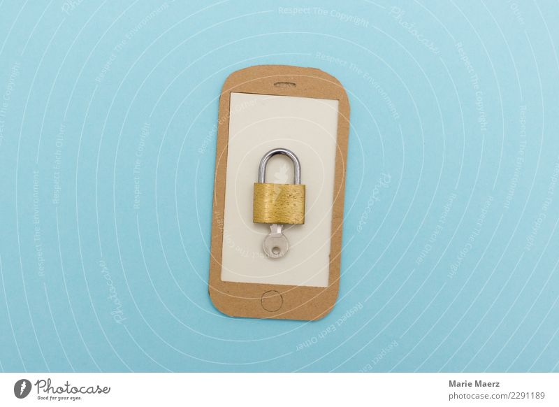 Unlock cell phone. Padlock with key on display. Cellphone PDA Telecommunications Information Technology Utilize Communicate Nerdy Blue Safety Protection