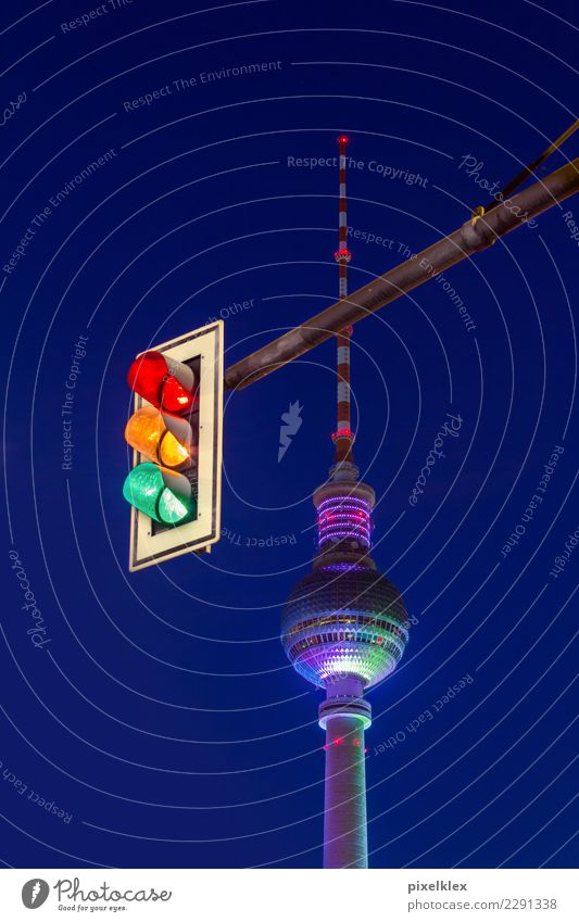 Traffic lights and television tower Vacation & Travel Tourism Sightseeing City trip Night life Going out Berlin Downtown Berlin Germany Europe Town Capital city