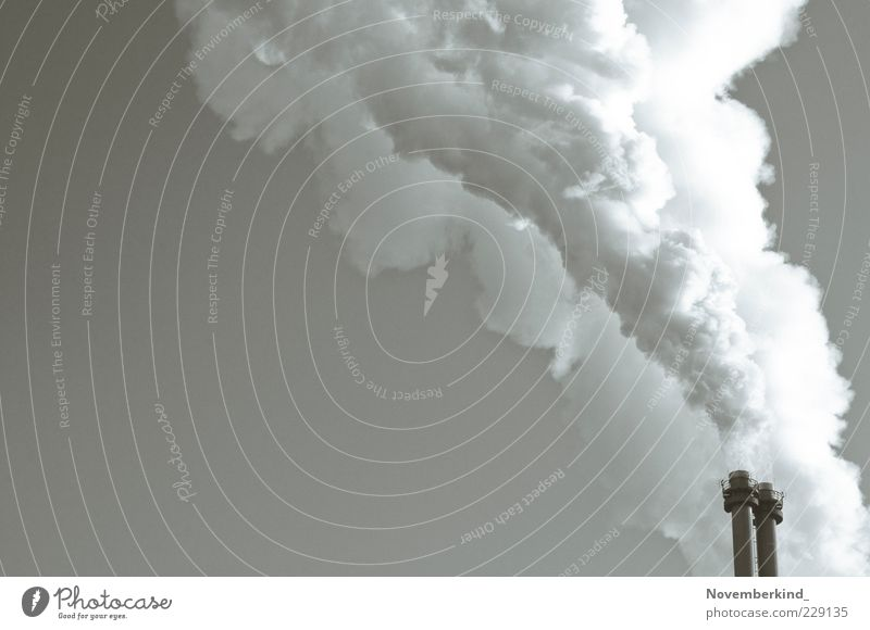 cloud machine Technology Energy industry Energy crisis Industry Deserted Chimney Smoke Threat Gray White Black & white photo Exterior shot Structures and shapes