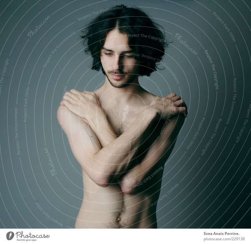 Human being Youth (Young adults) Beautiful Adults Cold Emotions Naked Hair and hairstyles Body Arm Skin Masculine Stand Uniqueness Thin