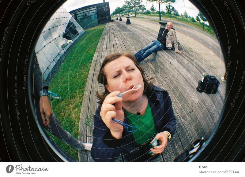 H10.1 | Fantasy Journey Joy Face Masculine Woman Adults Man Horizon Sphere Sit Stand Perspective Soap bubble World exposition Expo 2000 Blow Exuberance