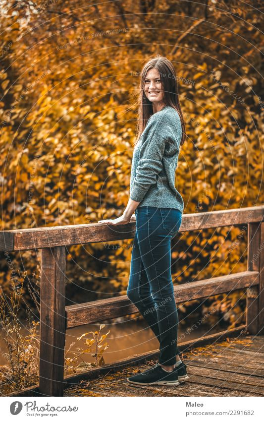 autumn rhapsody Autumn Portrait photograph Young woman Photo shoot Bridge Yellow Red Attractive Beautiful Happy Hair and hairstyles Model Human being Girl