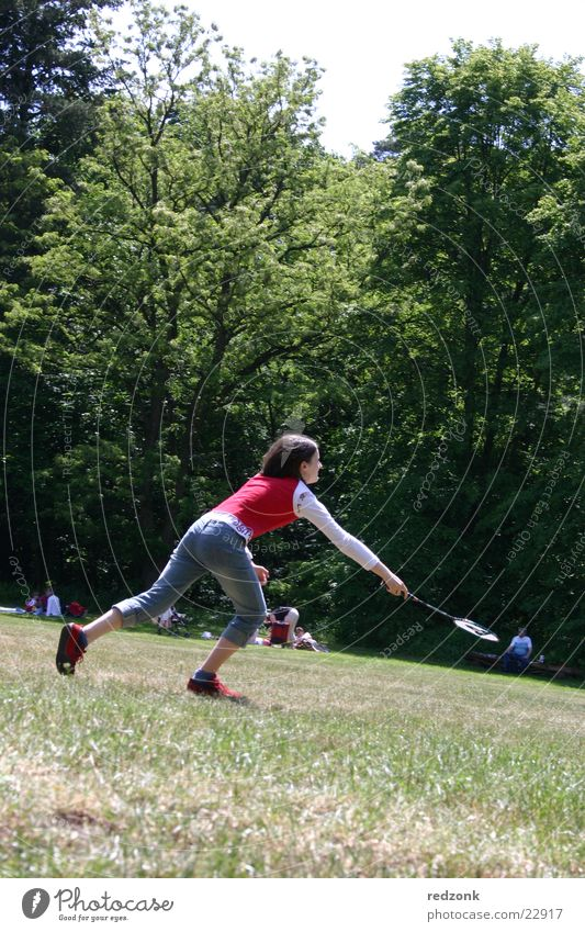 Nature Girl Tree Red Joy Sports Meadow Playing Crazy Running Ball Ball sports Badminton