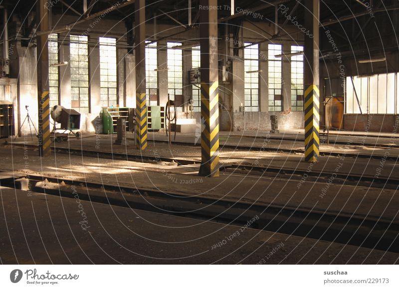Dark Window Room Concrete Transience Railroad tracks Steel Decline Hall Industrial plant Shut down