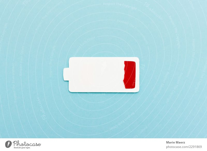 Battery empty. Silhouette of an empty battery icon. Relaxation Technology Diet Hip & trendy Modern Blue Red Exhaustion Stress Energy Performance Empty