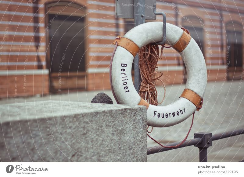 just swim Berlin Capital city Deserted Handrail Hang Red White Life belt Rescue Rope Fire department Water rescue Town Concrete Round Rescue equipment