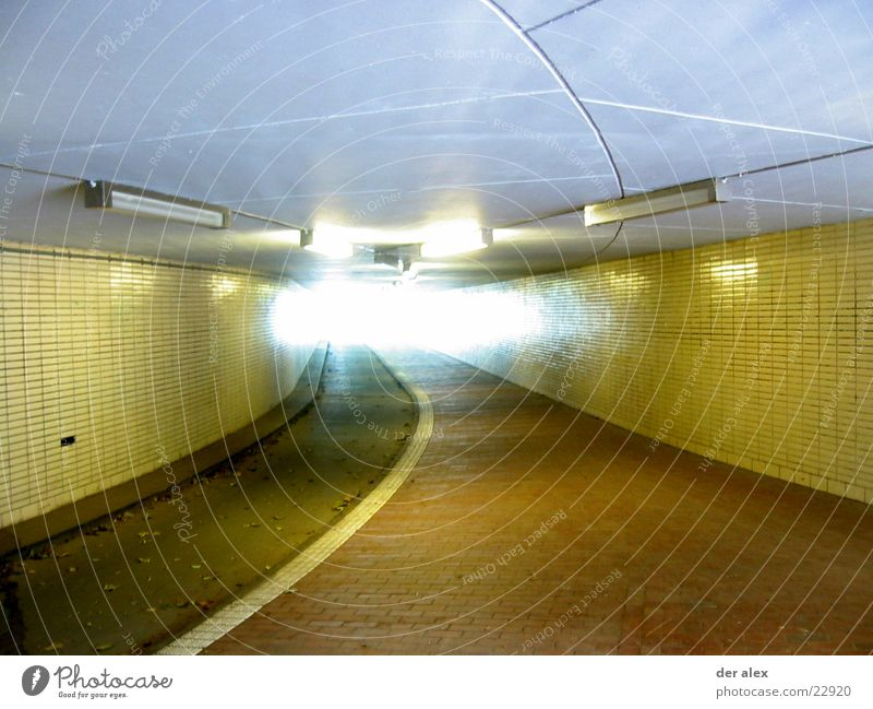 tunnels Back-light Tunnel Cycle path Neon light Yellow Deep Exit route Way out Underground Leaf Bridge Tile Sidewalk End Dirty