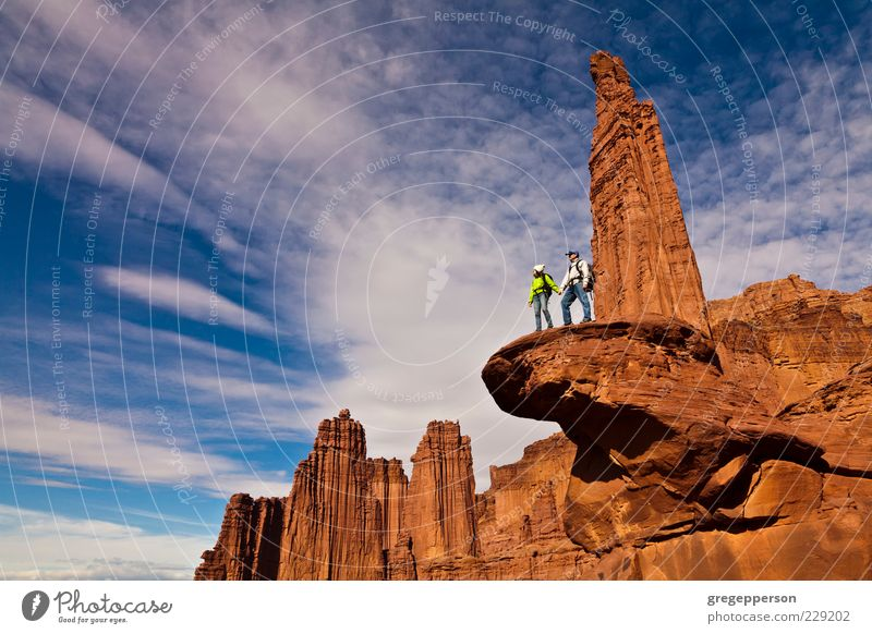 Hikers on the summit. Human being Vacation & Travel Sports Mountain Friendship Together Contentment Tall Hiking Adventure Success Climbing Peak Discover Brave