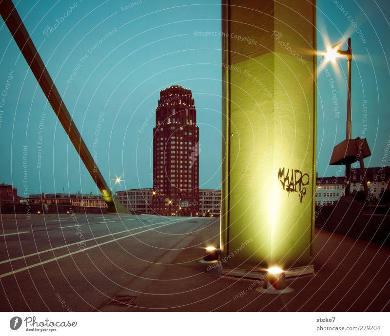 Signs of the night Frankfurt Town High-rise Bridge Street Illuminate Graffiti Bridge pier Street lighting Colour photo Exterior shot Deserted Night