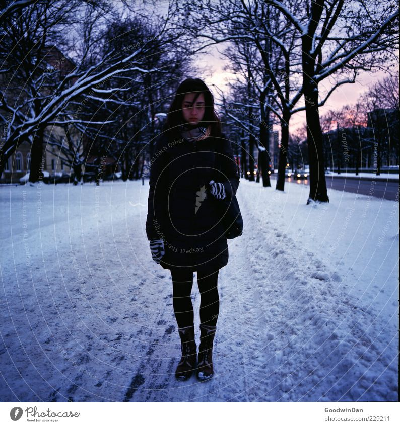 Woman Human being Youth (Young adults) Old City Winter Adults Loneliness Feminine Street Cold Snow Emotions Sadness Dream
