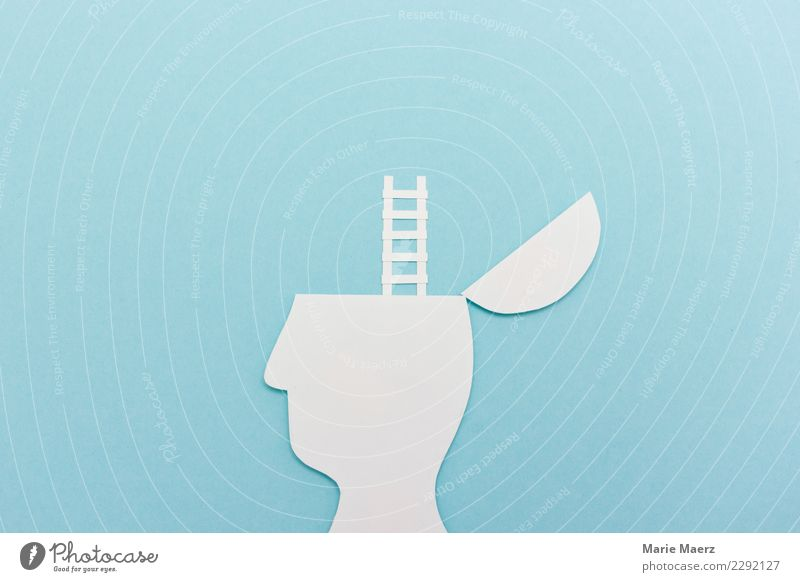 New perspective. Head Silhouette with ladder Academic studies Study Career Think Discover Dream Growth Exceptional Success Free Infinity Tall Curiosity Blue