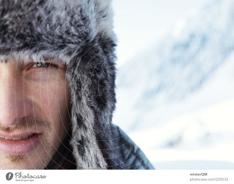 Human being Man Winter Face Eyes Cold Masculine Cap Facial hair Freeze Partially visible Mountaineer Expedition Scientist Beard hair