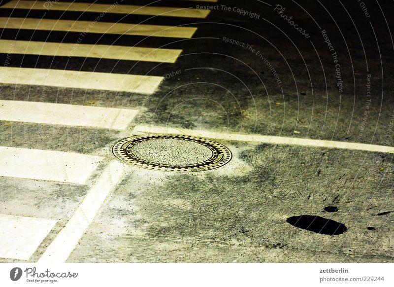 stripes, angles, gulli Deserted Transport Traffic infrastructure Road traffic Street Lanes & trails Sign Gully Zebra crossing Night Night mood Oil slick