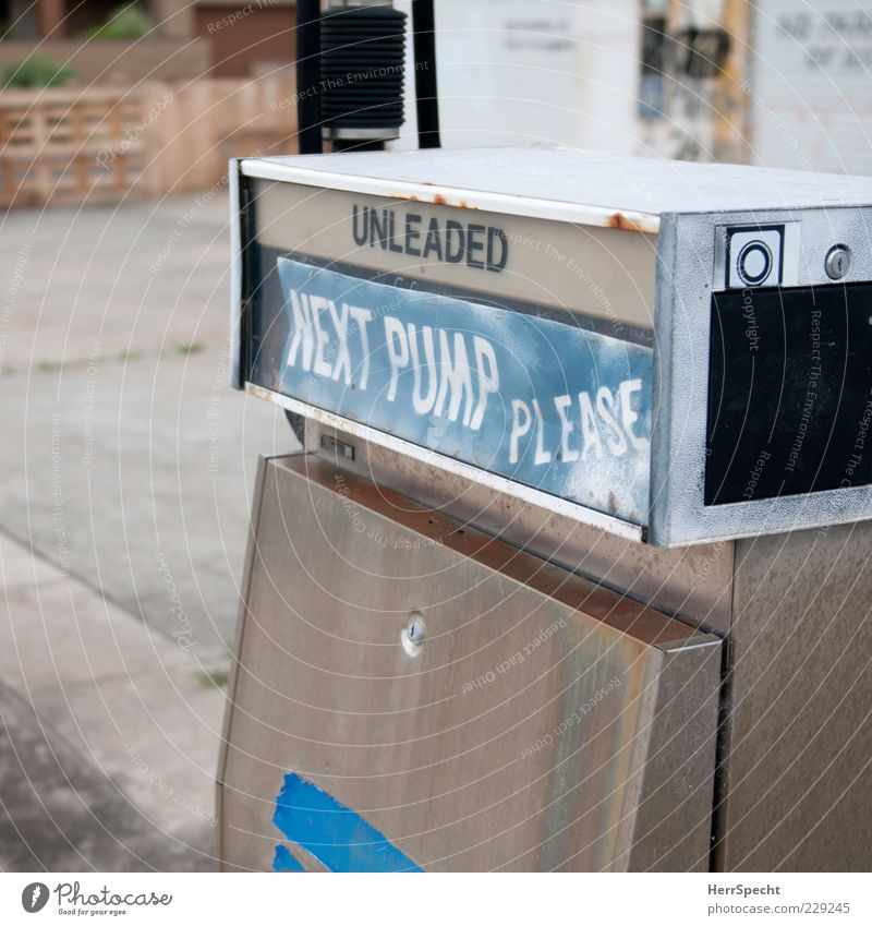 Old Blue White Gray Closed Gloomy Desire Transience Past Trashy Decline Word Silver English Petrol station Refuel