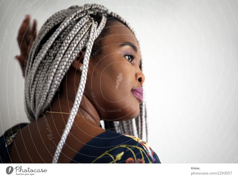 gené Feminine Woman Adults 1 Human being Dress Jewellery Hair and hairstyles Black-haired Gray-haired Long-haired Braids Afro Plaited Observe Touch Movement