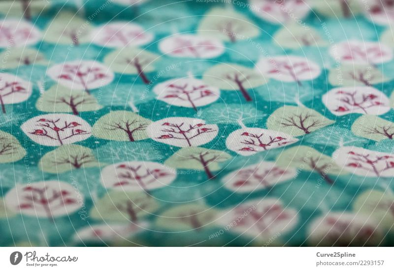 spring-time Craftsperson Forest Turquoise Happy Happiness Joie de vivre (Vitality) Spring fever Colour Cloth Tree Green Pink Nature Sewing Cloth pattern Jersey