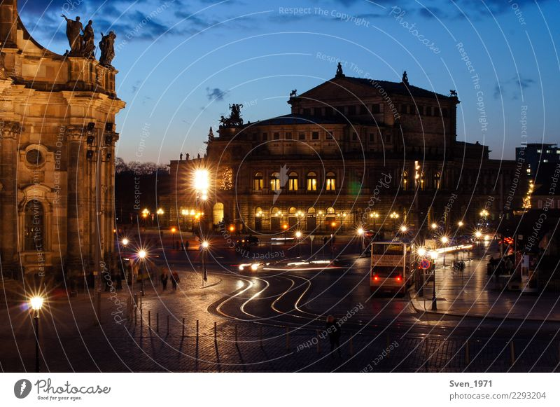Semper Opera House and Theaterplatz Dresden Vacation & Travel Tourism Sightseeing City trip Theatre Culture Opera house Sunrise Sunset Germany Europe Town