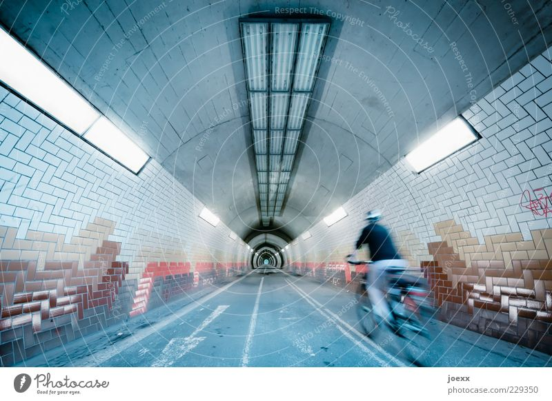 First! Cycling 1 Human being Traffic infrastructure Tunnel Bicycle Driving Speed Colour photo Multicoloured Interior shot Light Central perspective Lighting