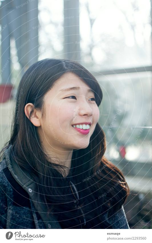 Asian girl smiling Joy Beautiful Wellness Harmonious Vacation & Travel Human being Feminine Young woman Youth (Young adults) Smiling Laughter Authentic