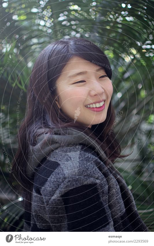 Asian girl smiling Lifestyle Joy Beautiful Wellness Relaxation Human being Feminine Young woman Youth (Young adults) Nature Plant Smiling Laughter Authentic