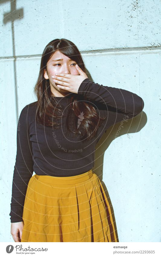Young asian woman covering her mouth Lifestyle Elegant Style Design Exotic Beautiful Young woman Youth (Young adults) Woman Adults Fashion Communicate