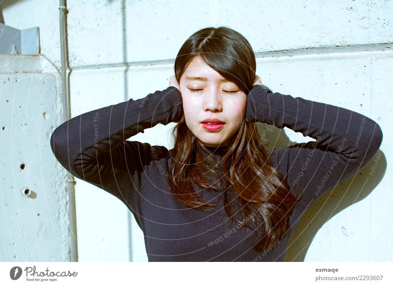 Portrait of asían woman Human being Youth (Young adults) Young woman Beautiful Relaxation Loneliness Face Lifestyle Wall (building) Feminine Wall (barrier)