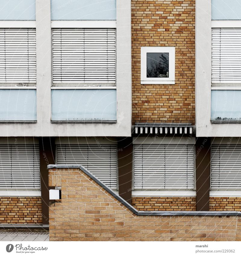 Blue White House (Residential Structure) Window Wall (building) Wall (barrier) Brown Closed Facade Stairs Car Window Gloomy Brick Copy Space Graphic Roller shutter