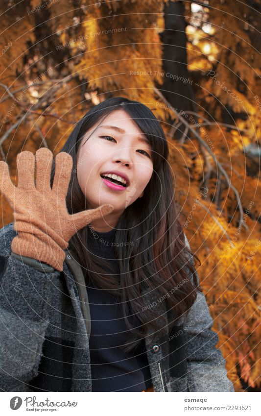 Asian Young woman smiling with gloves in autumn Woman Human being Vacation & Travel Youth (Young adults) Beautiful Joy Adults Life Lifestyle Healthy Natural