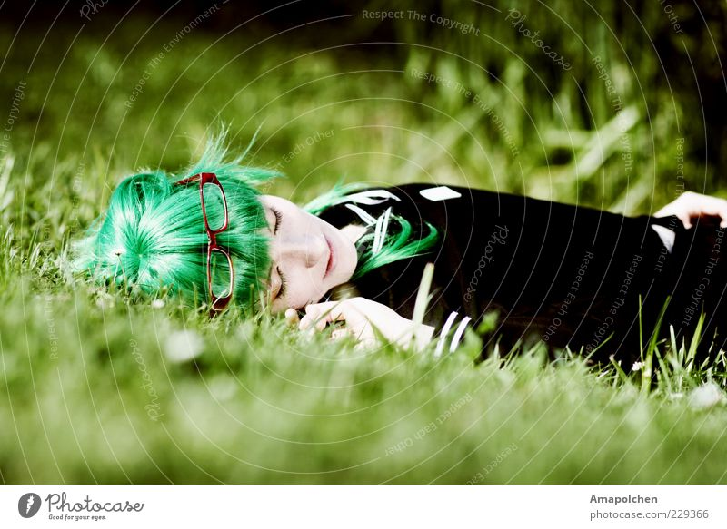 Human being Youth (Young adults) Beautiful Green Young woman Relaxation Calm Joy Life Feminine Grass Hair and hairstyles Happy Lie Contentment Design