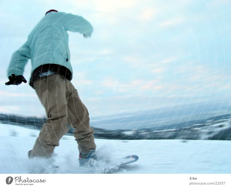 snowride Snowboard Action Sports Jonny Harz Mountain Snowboarding Snowboarder Curve Swing Ski-run Downward Ski run Motion blur Exterior shot Colour photo 1