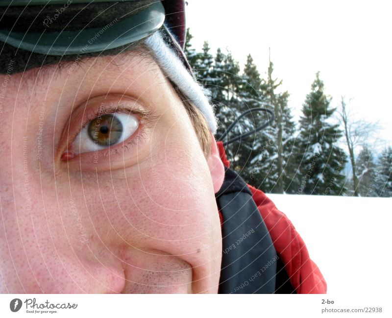 Man Eyes Snow Funny Crazy Fir tree