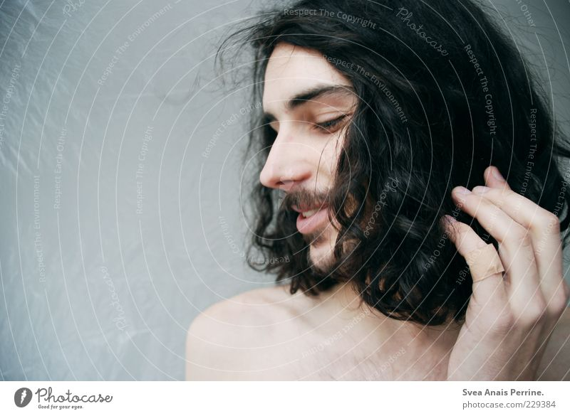 so sweet. Masculine Hair and hairstyles Face 1 Human being 18 - 30 years Youth (Young adults) Adults Black-haired Brunette Long-haired Curl Facial hair