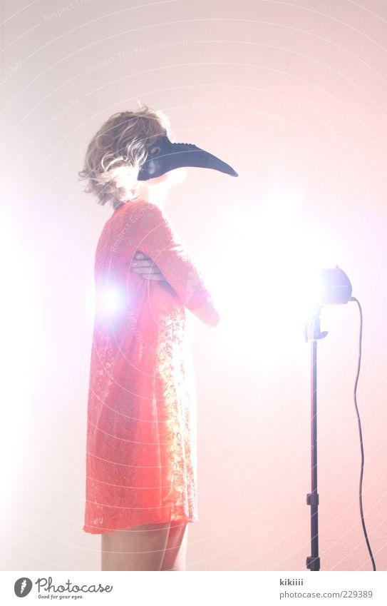 Woman Black Relaxation Orange Blonde Pink Stand Point Mask Whimsical To enjoy Bizarre Illuminate Beak Floodlight Dazzle