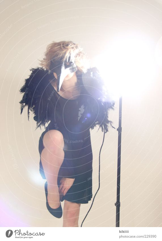 abraxas Bizarre Mask Costume Beak Point Footwear Black Seeming Mythical creature Feather Mystic Colour photo Flash photo Back-light Posture Studio shot Dress up