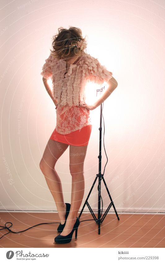 black Fashion Skirt Cloth High heels Blonde Curl Esthetic Ease Beautiful Pink Pastel tone Stand Equipment Ground Model Disinterest Colour photo Flash photo