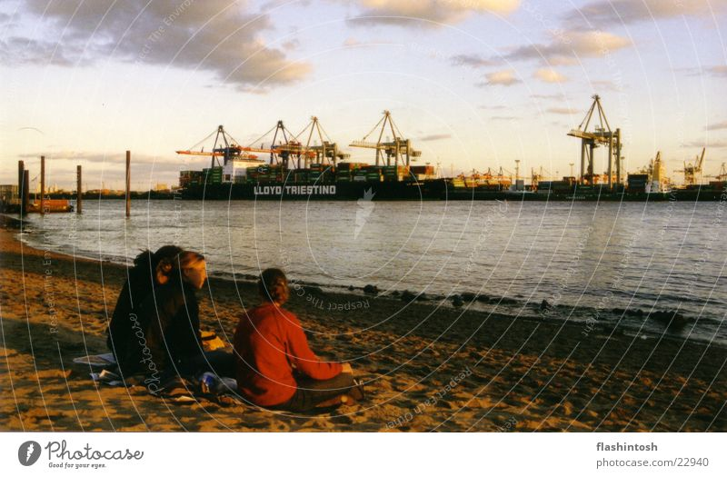 Elbe beach Relaxation Elbstrand Beach Leisure and hobbies Multiple Container crane
