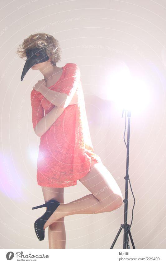 Woman Beautiful Black Legs Fashion Bird Blonde Pink Esthetic Exceptional Dress Mask Curl Bizarre Beak Young woman
