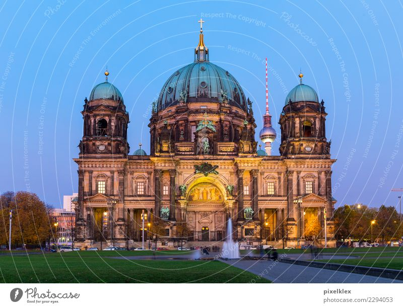 Berlin Cathedral Luxury Night life Downtown Berlin Germany Europe Town Capital city Old town House (Residential Structure) Church Dome Park Places Tower