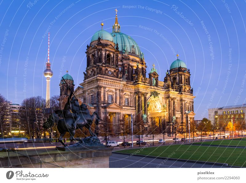 Berlin Cathedral at night Night life Museum Downtown Berlin Germany Europe Town Capital city Old town Dream house Church Dome Places Tower Manmade structures