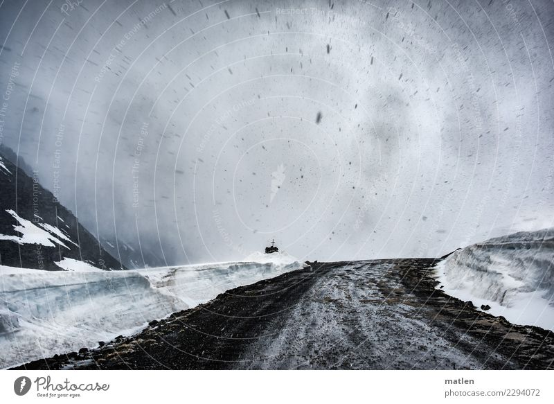 Sky Landscape White Clouds Mountain Dark Black Spring Snow Brown Rock Snowfall Fog Elements Driving Gale