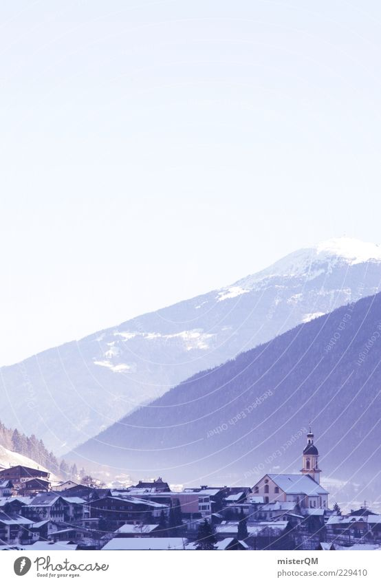 City Winter Landscape Mountain Religion and faith Esthetic Church Roof Alps Idyll Village Valley Home country Rural Peaceful Mountain range