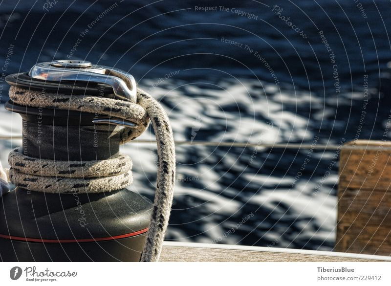 The Winch and the Sea Ocean Sailing Water Yacht Sailboat Driving Blue Contentment Freedom Colour photo Exterior shot Deserted Blur Motion blur Rope Maritime