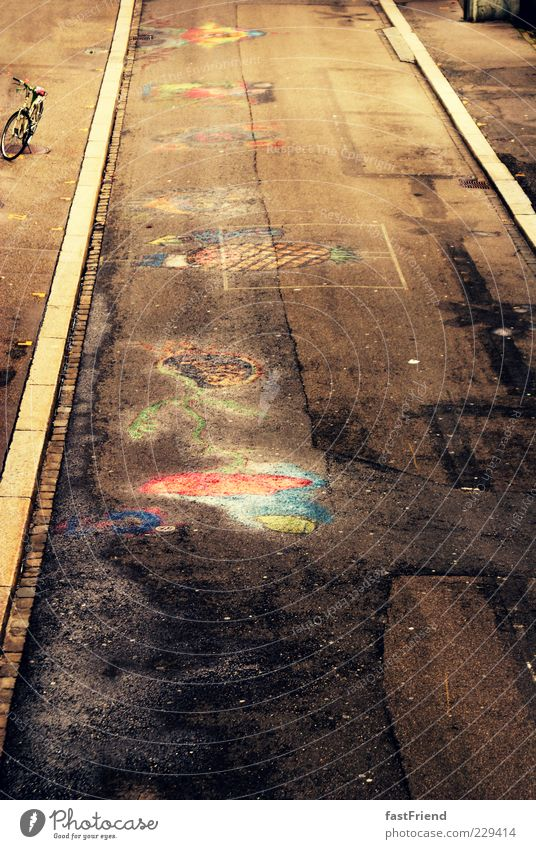 Street Art Glittering Dirty Exceptional Perspective Asphalt Painting and drawing (object) Chalk Youth culture Street art Curbside Roadside Multicoloured