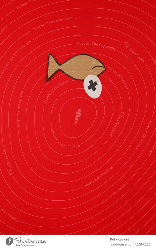 #AS# dead as a... # Art Esthetic Fish Fishery Fisheye Fish eyes Fish market Red Comic Comic strip character Childish Colour photo Multicoloured Interior shot